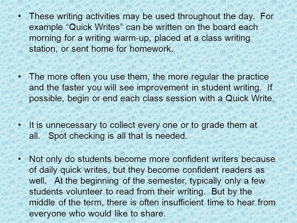 These writing activities may be used throughout the day