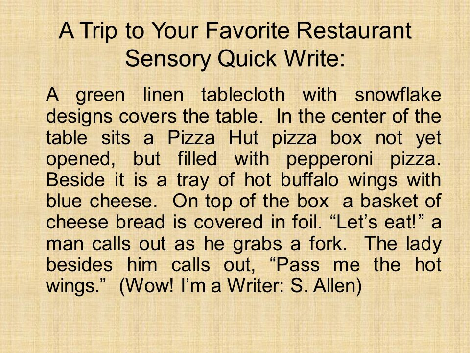 A Trip to Your Favorite Restaurant Sensory Quick Write: