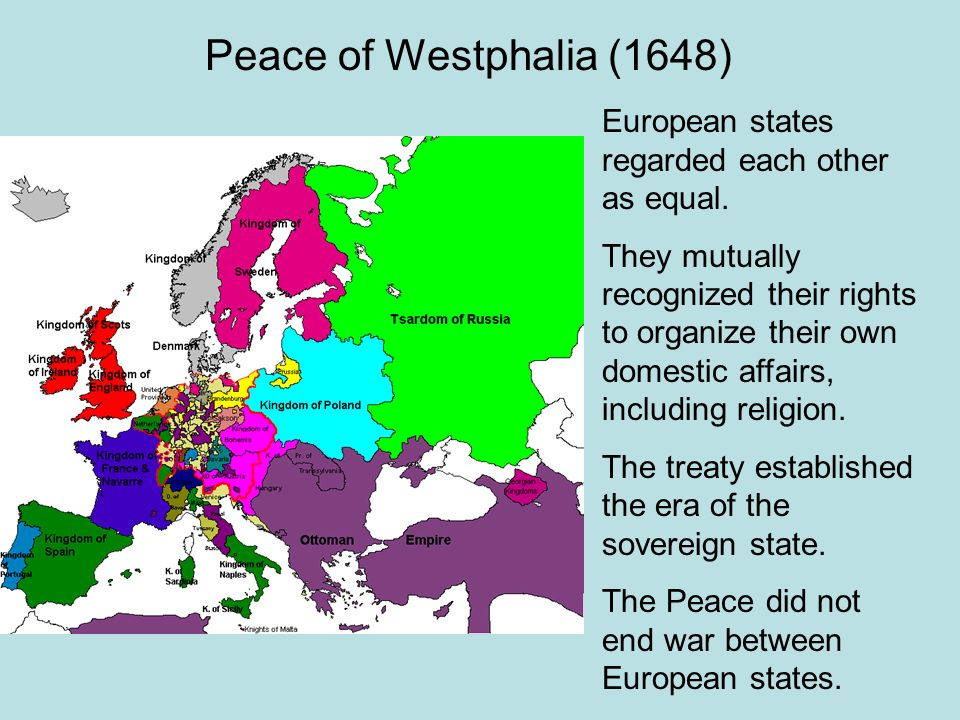 Peace of Westphalia (1648) European states regarded each other as equal.