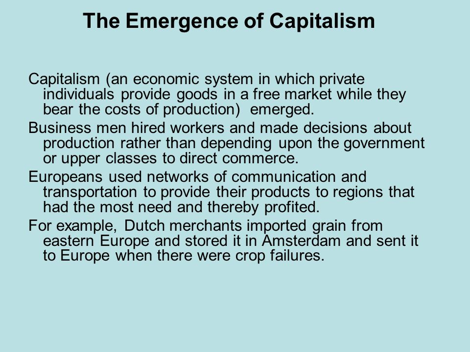 The Emergence of Capitalism