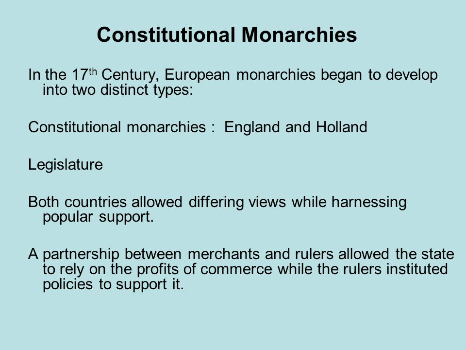 Constitutional Monarchies