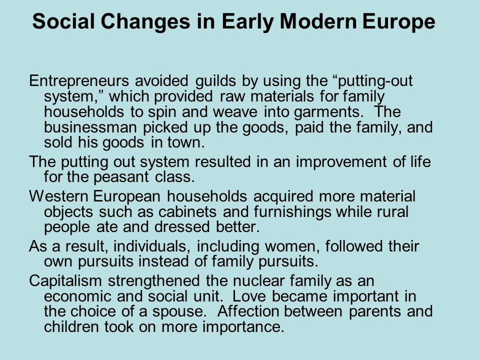 Social Changes in Early Modern Europe