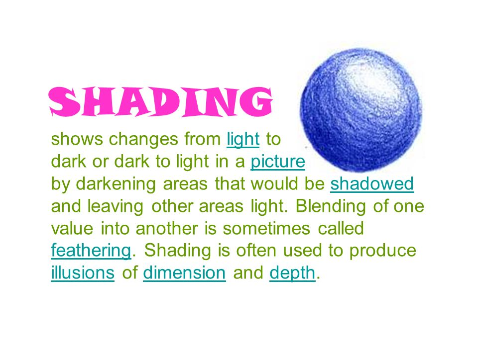 SHADING shows changes from light to dark or dark to light in a picture