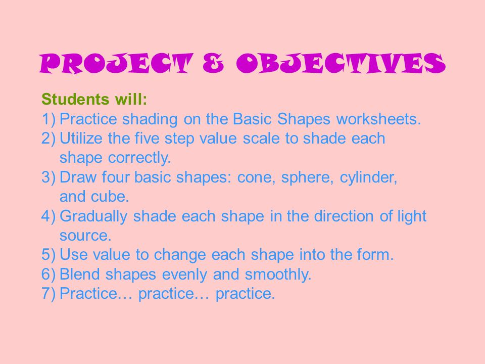 PROJECT & OBJECTIVES Students will: