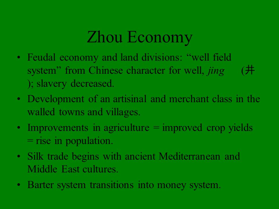 Zhou EconomyFeudal economy and land divisions: well field system from Chinese character for well, jing (井); slavery decreased.