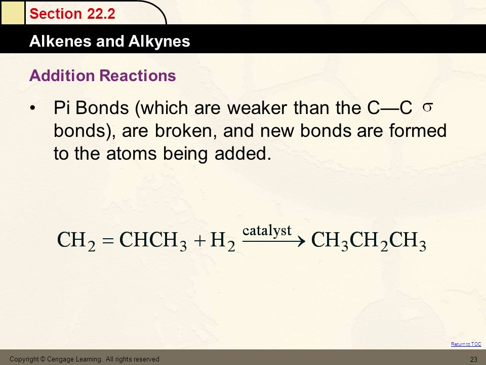 Addition Reactions Pi Bonds (which are weaker than the C—C bonds), are broken, and new bonds are formed to the atoms being added.