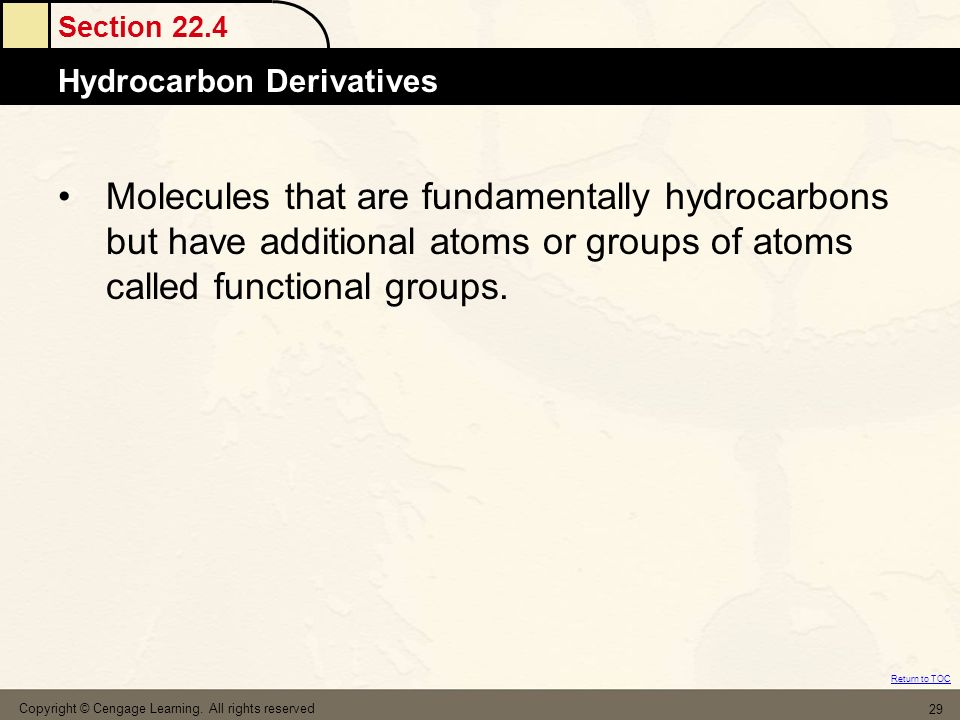 Molecules that are fundamentally hydrocarbons but have additional atoms or groups of atoms called functional groups.