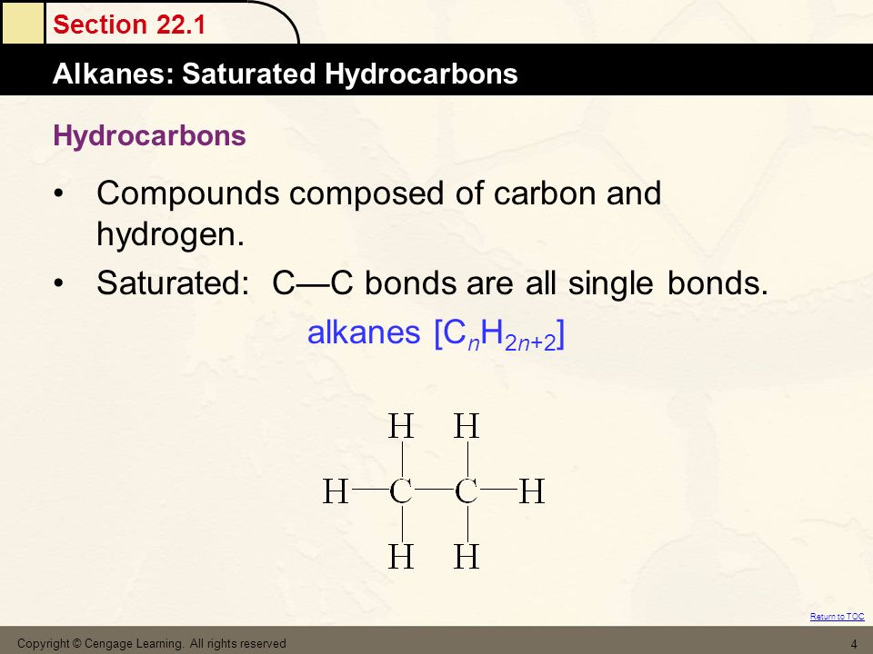 Compounds composed of carbon and hydrogen.