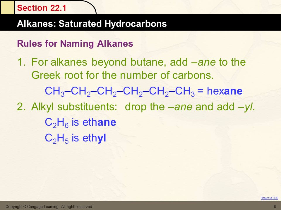 Rules for Naming Alkanes