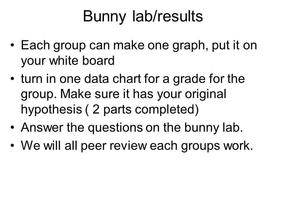 Bunny lab/results Each group can make one graph, put it on your white board.