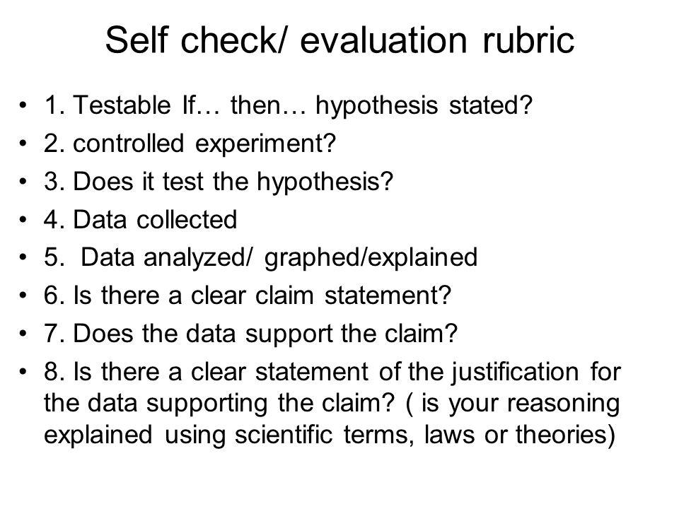 Self check/ evaluation rubric