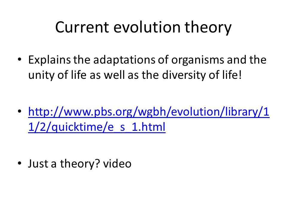 Current evolution theory