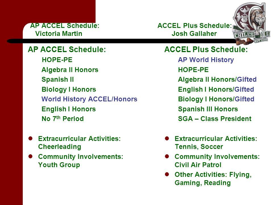 AP ACCEL Schedule: ACCEL Plus Schedule: Victoria Martin Josh Gallaher