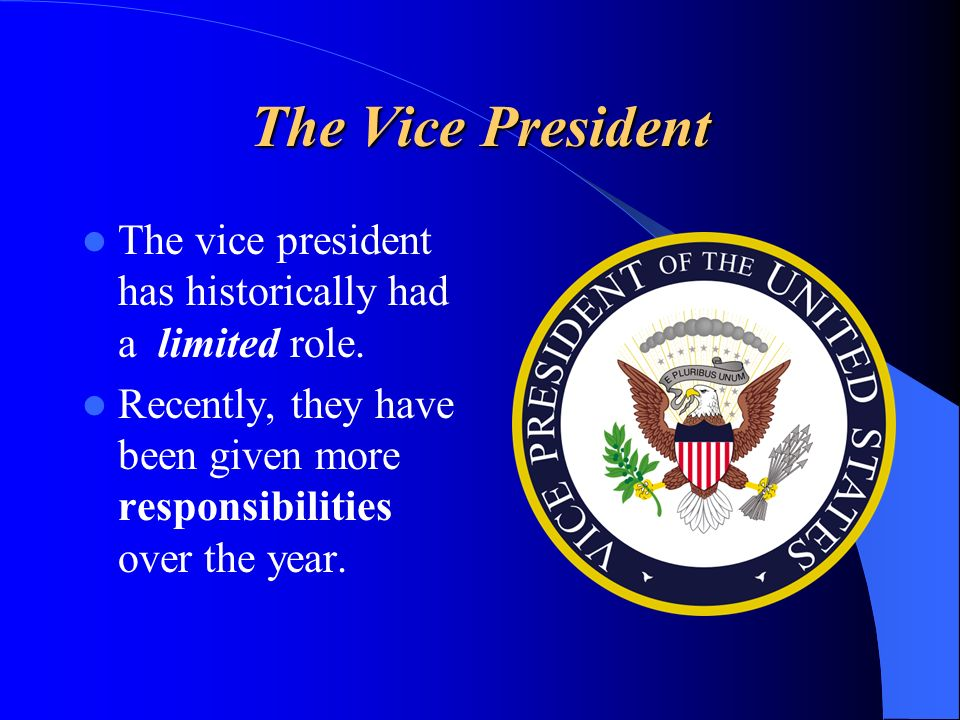 The Vice President The vice president has historically had a limited role.