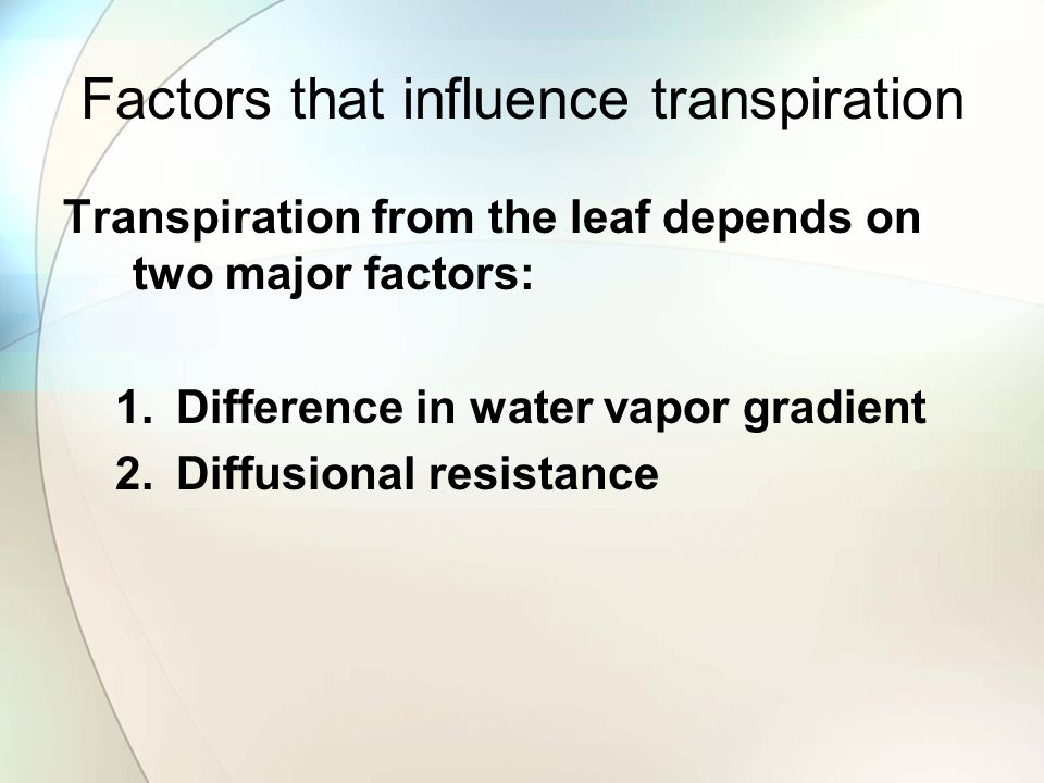 Factors that influence transpiration