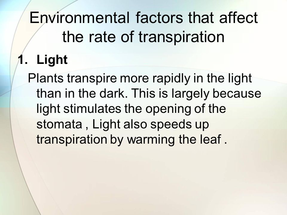 Environmental factors that affect the rate of transpiration