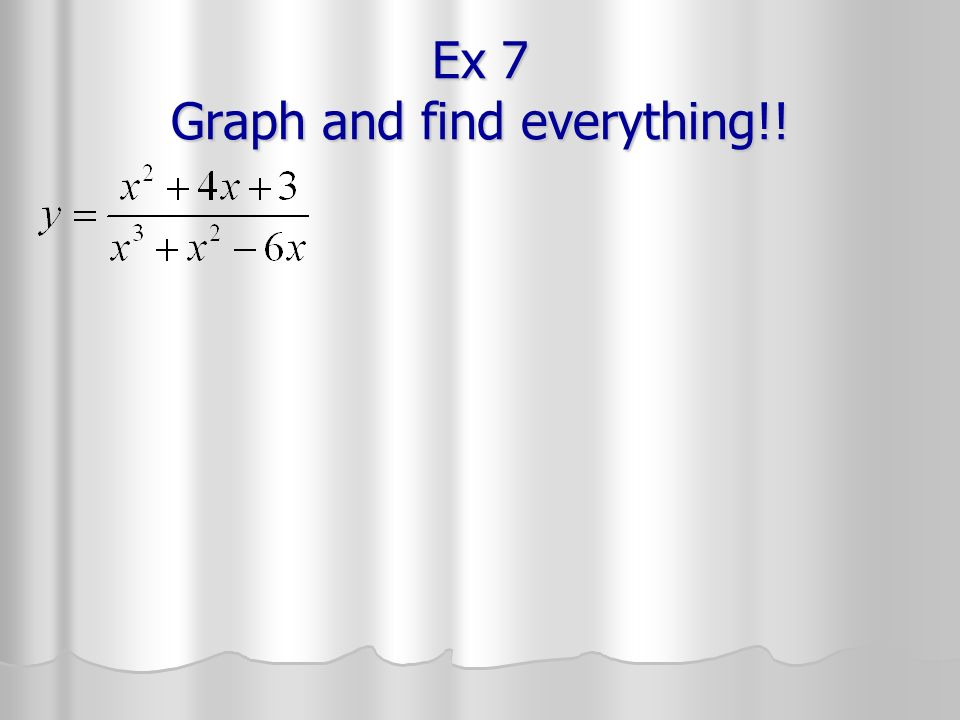 Ex 7 Graph and find everything!!
