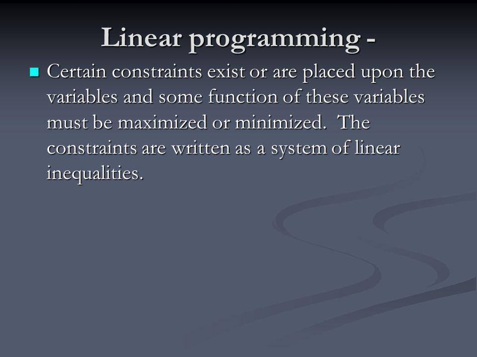 Linear programming -