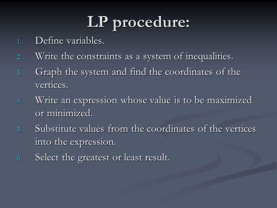 LP procedure: Define variables.