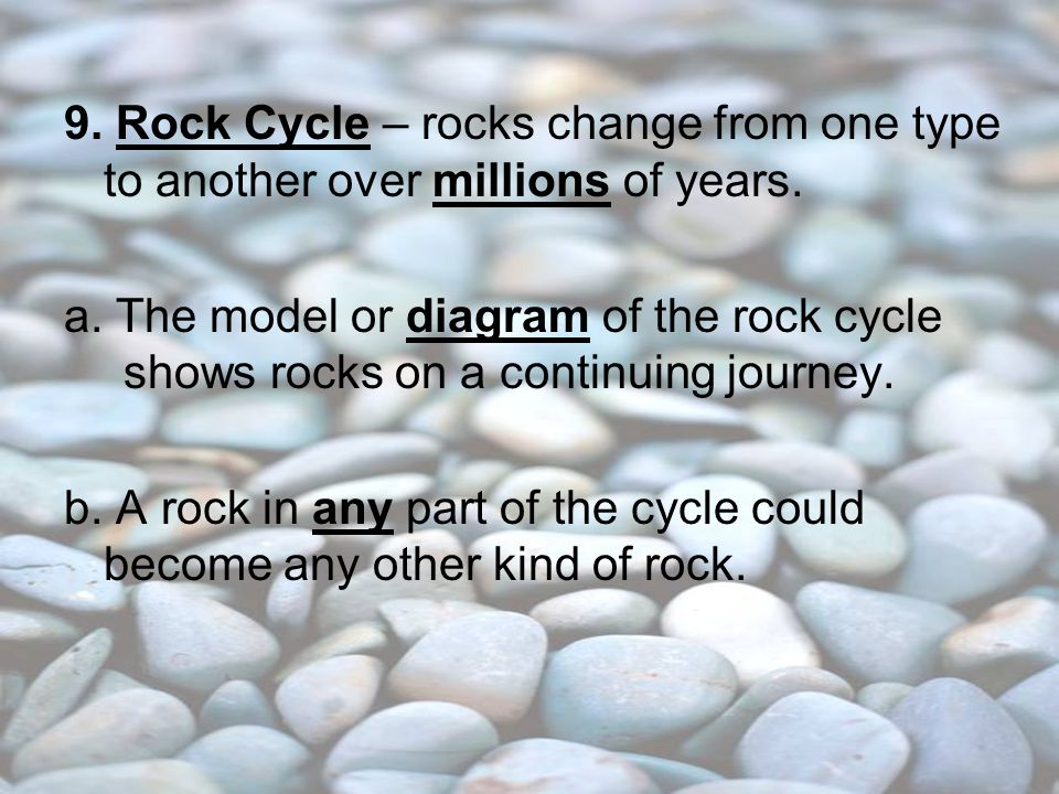 9. Rock Cycle – rocks change from one type to another over millions of years.