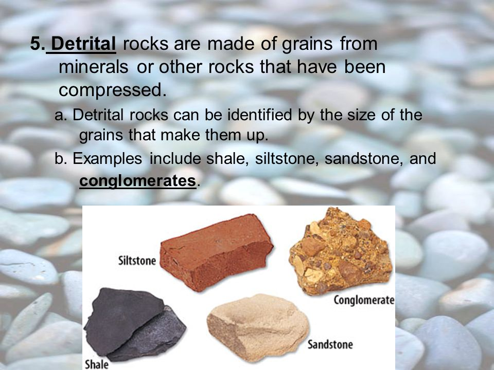 5. Detrital rocks are made of grains from minerals or other rocks that have been compressed.