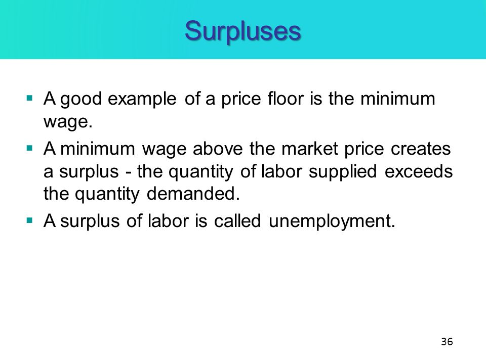 Surpluses A Good Example Of A Price Floor Is The Minimum Wage.