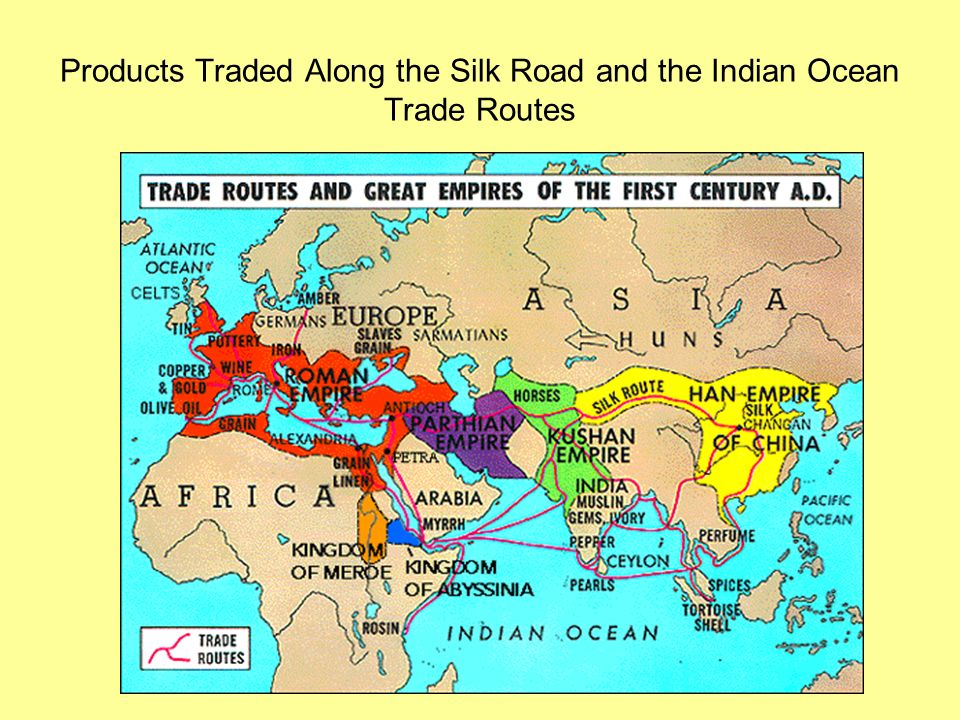 Products Traded Along the Silk Road and the Indian Ocean Trade Routes