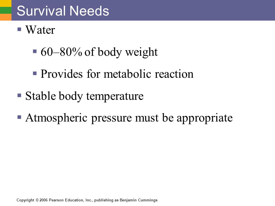 Survival Needs Water 60–80% of body weight