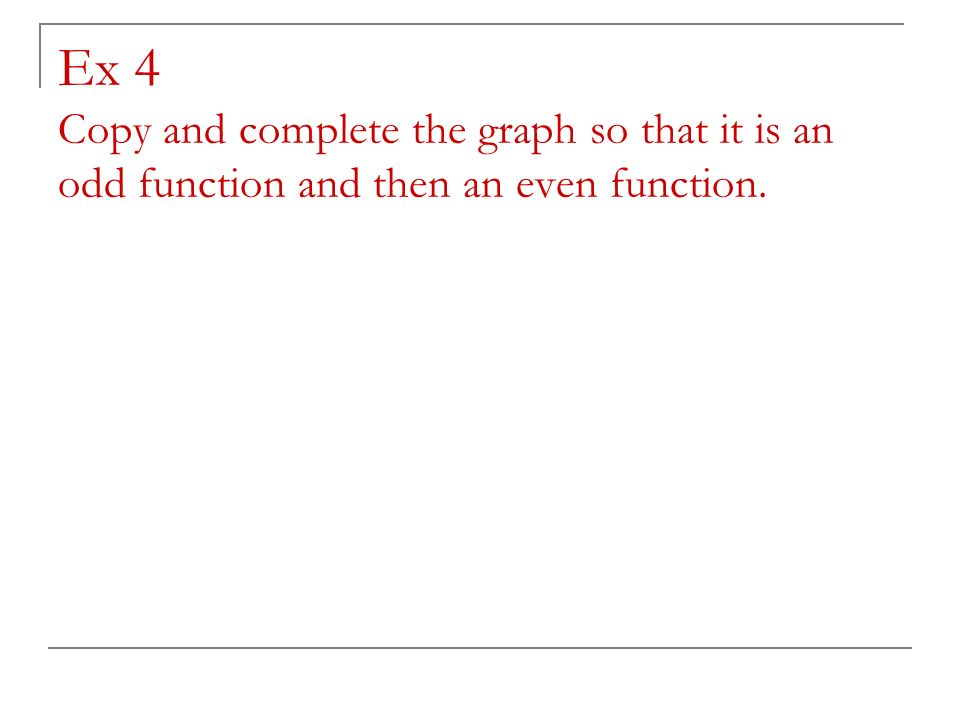 Ex 4 Copy and complete the graph so that it is an odd function and then an even function.