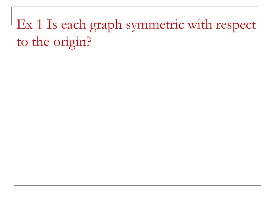 Ex 1 Is each graph symmetric with respect to the origin