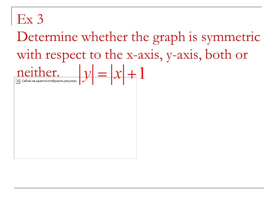Ex 3 Determine whether the graph is symmetric with respect to the x-axis, y-axis, both or neither.