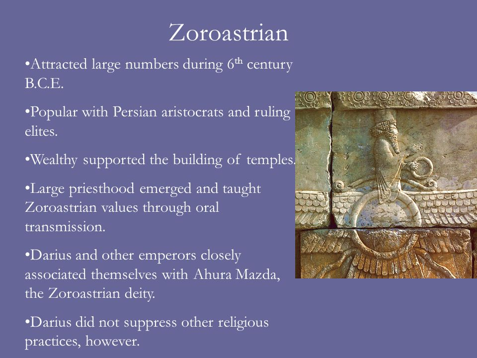 Zoroastrian Attracted large numbers during 6th century B.C.E.