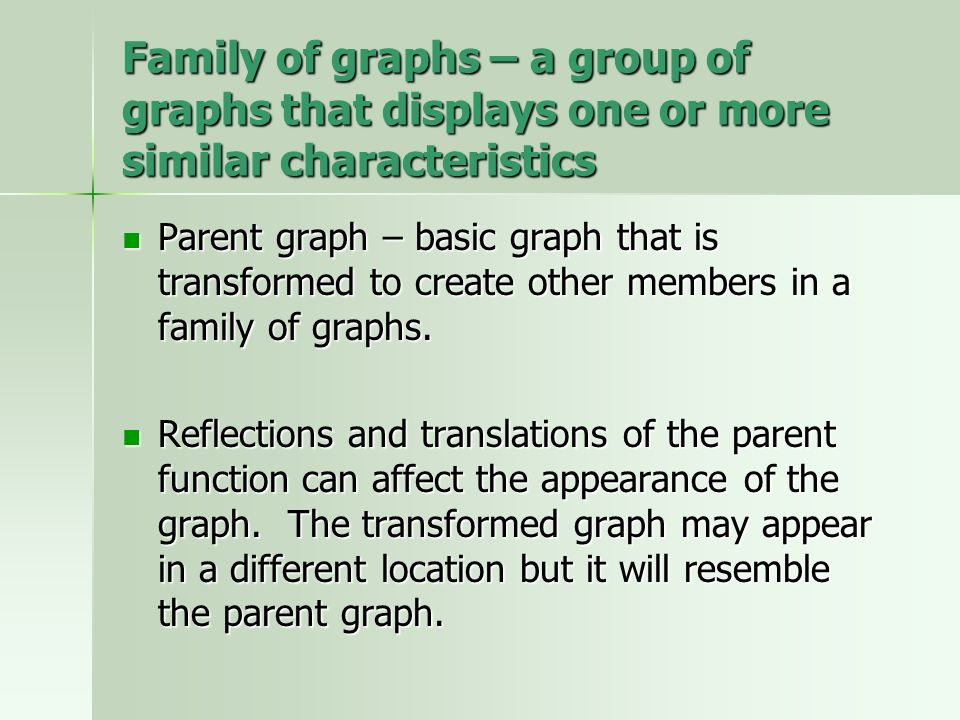 Family of graphs – a group of graphs that displays one or more similar characteristics