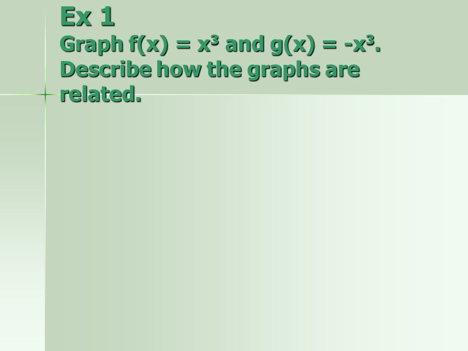Ex 1 Graph f(x) = x3 and g(x) = -x3