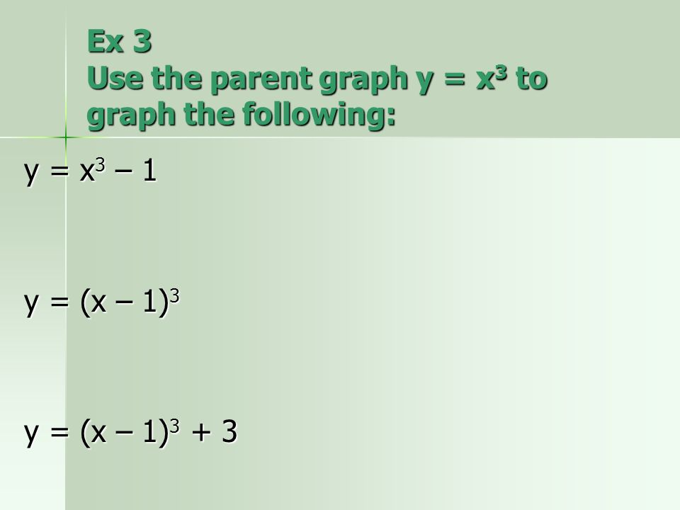 Ex 3 Use the parent graph y = x3 to graph the following: