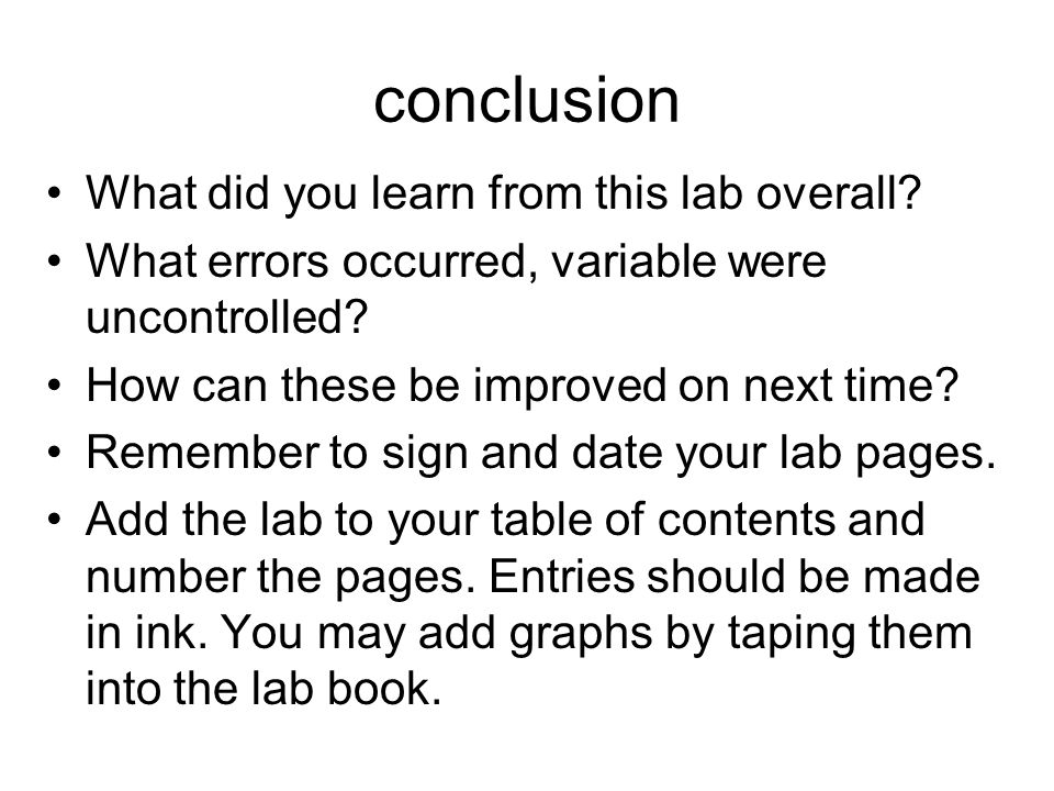 conclusion What did you learn from this lab overall