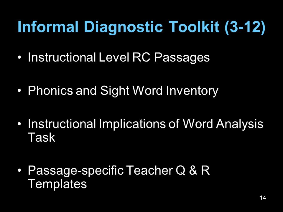 Informal Diagnostic Toolkit (3-12)