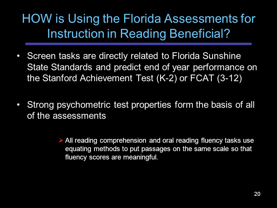 HOW is Using the Florida Assessments for Instruction in Reading Beneficial