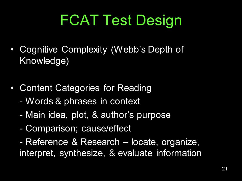 FCAT Test Design Cognitive Complexity (Webb's Depth of Knowledge)
