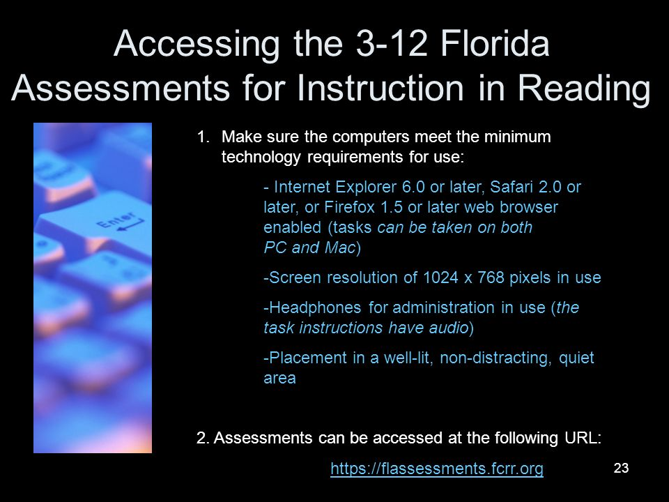 Accessing the 3-12 Florida Assessments for Instruction in Reading