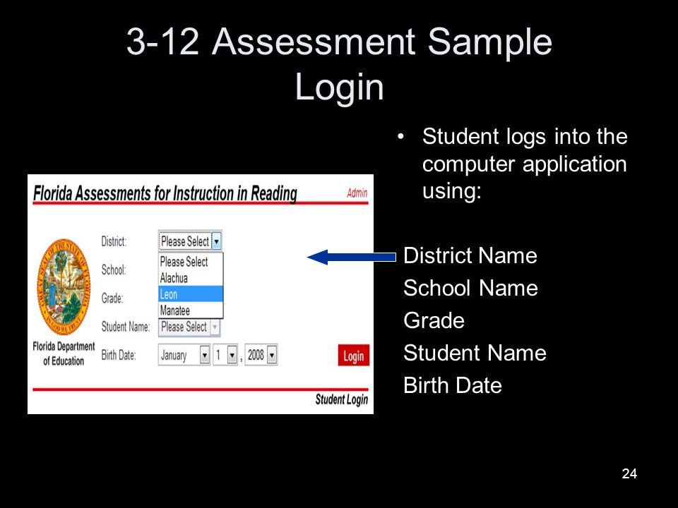 3-12 Assessment Sample Login