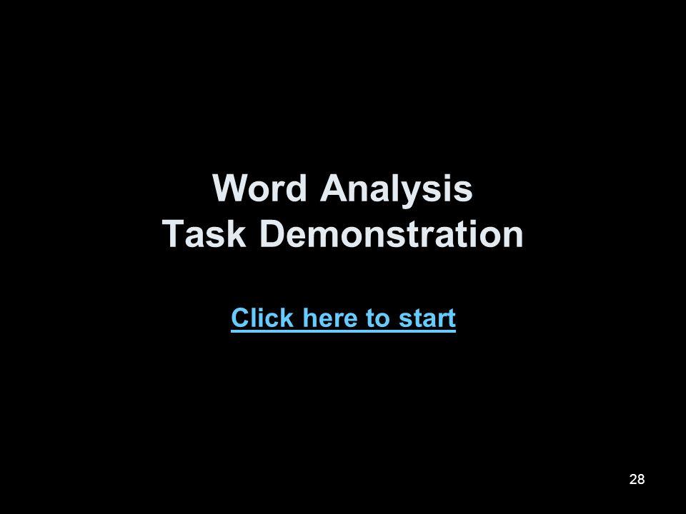 Word Analysis Task Demonstration Click here to start