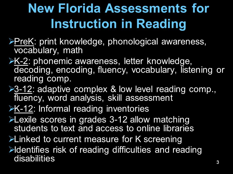 New Florida Assessments for Instruction in Reading