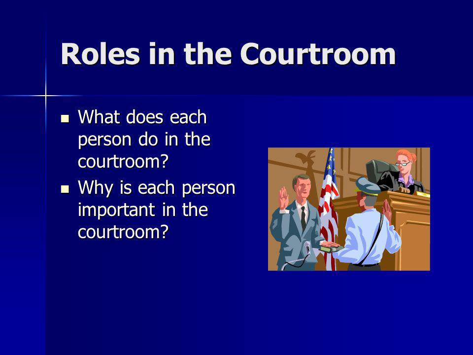 Roles in the Courtroom What does each person do in the courtroom