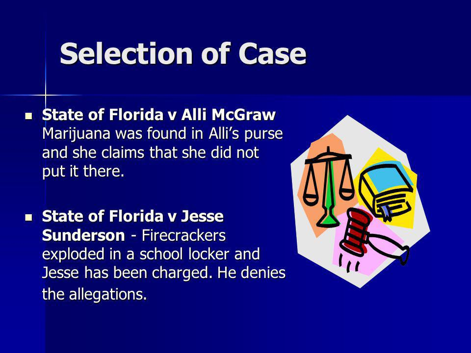 Selection of Case State of Florida v Alli McGraw Marijuana was found in Alli's purse and she claims that she did not put it there.