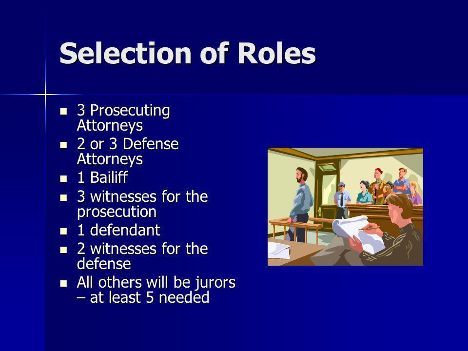 Selection of Roles 3 Prosecuting Attorneys 2 or 3 Defense Attorneys