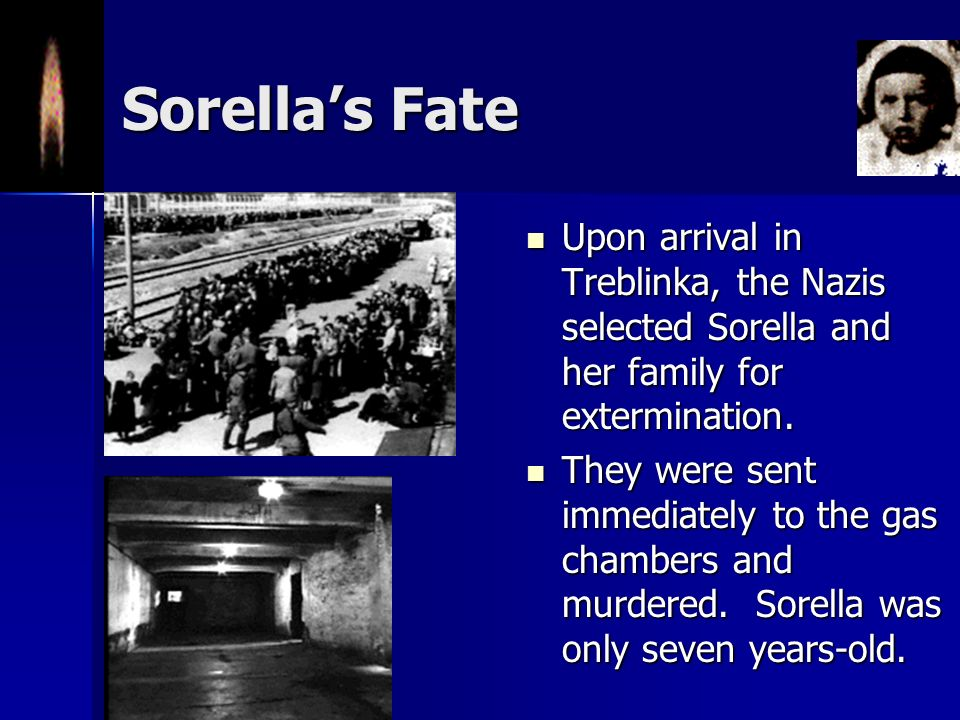 Sorella's Fate Upon arrival in Treblinka, the Nazis selected Sorella and her family for extermination.