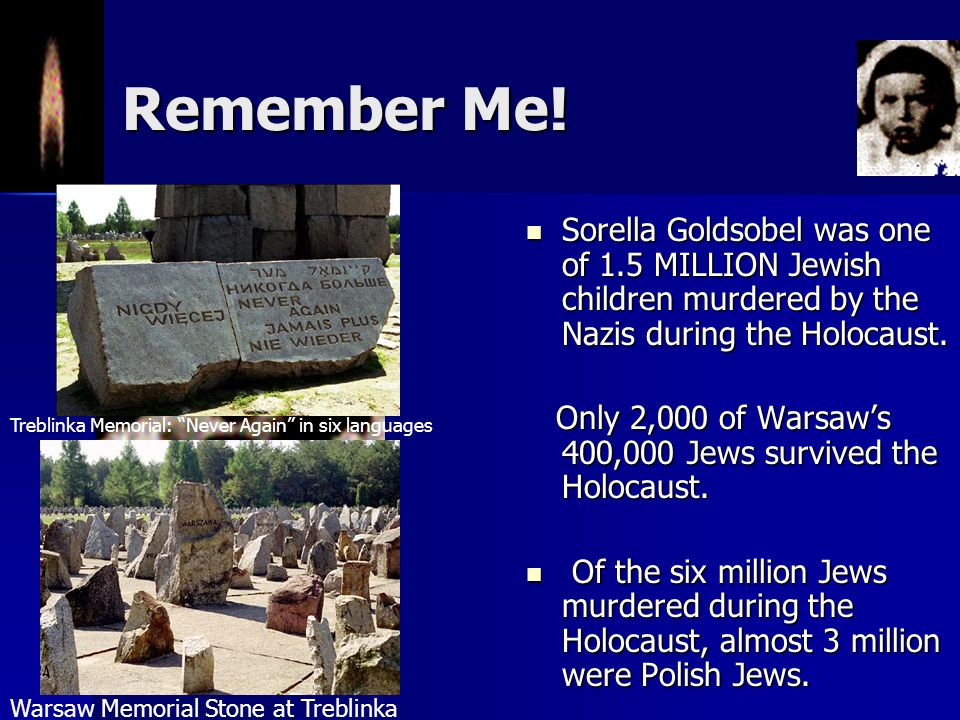 Remember Me! Sorella Goldsobel was one of 1.5 MILLION Jewish children murdered by the Nazis during the Holocaust.