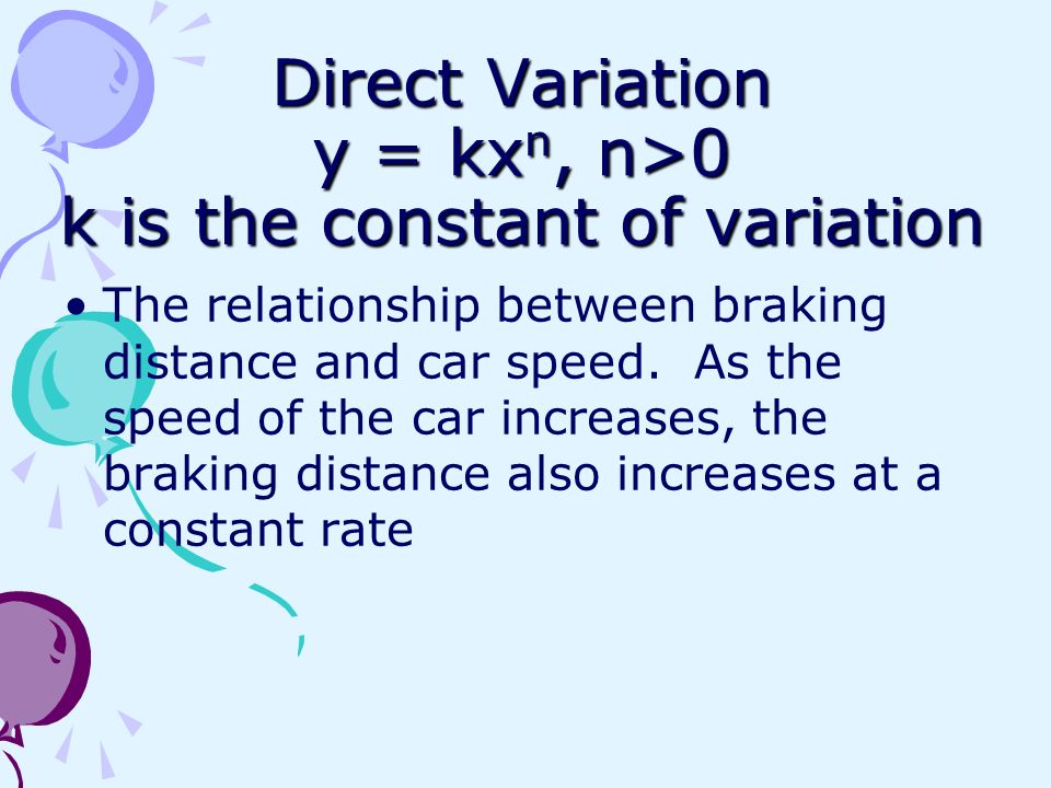 Direct Variation y = kxn, n>0 k is the constant of variation