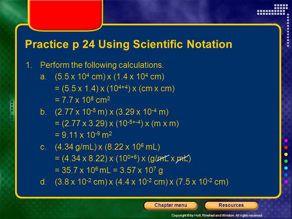 Practice p 24 Using Scientific Notation
